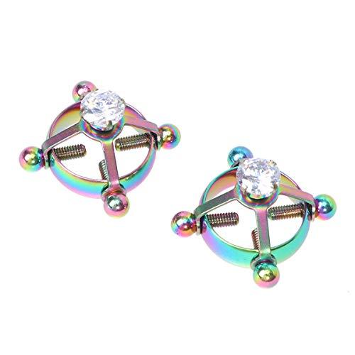 Joyooy Brustring aus Edelstahl, mit Diamanten, verstellbar, Brustring, Nippelring, 6 Spielzeuge für Frauen, 2 Stück