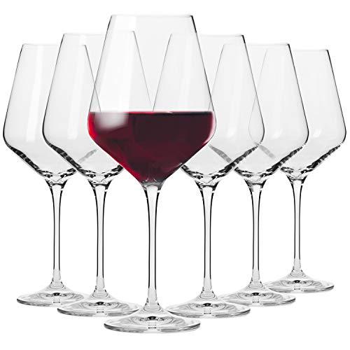 Krosno Grandi Bicchieri Calice Vino Rosso | Set di 6 | 490 ML | Collezione Avant-Garde | Ideale per la Casa, Ristorante Feste e Ricevimenti | Adatto alla Lavastoviglie e al Forno a Microonde