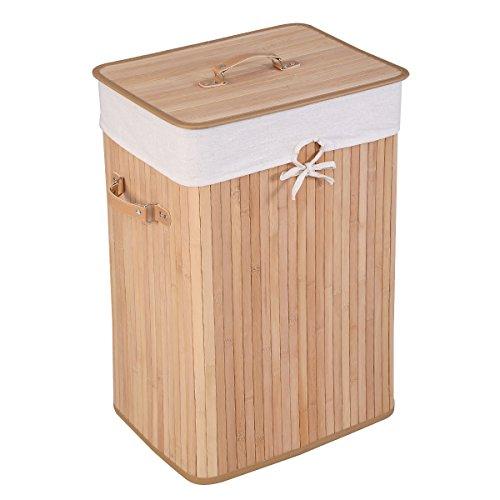 COSTWAY 72L Wäschekorb, Wäschebox Bambus, Wäschetruhe Wäschesammler Wäschetonne mit Wäschesack (Natur)