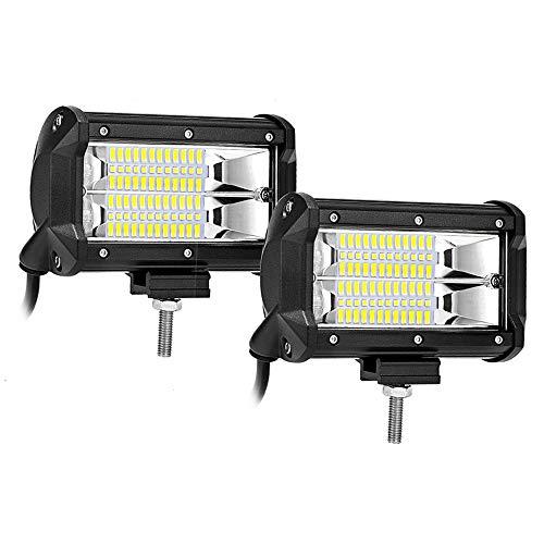 5 inches LED Light Bars 72W Flood Light Pods Off Road Fog Driving Lights for Trucks Pickup Jeep SUV ATV UTV Marine, 2 years Warranty