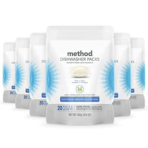Method Dishwasher Detergent Packs, Free + Clear, 20 Count, 6 pack, Packaging May Vary