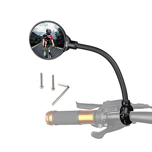 DRCKHROS Bike Mirror Rotatable and Adjustable Wide Angle Rear View Shockproof Convex Mirror Universal for Bike Bicycle