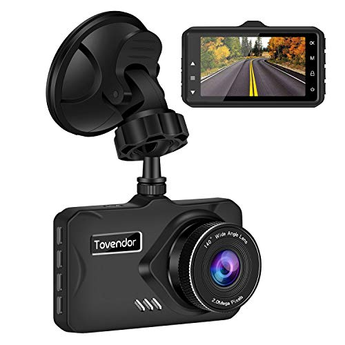 Tovendor DVR Recorder for Cars, FHD 1080P Dash Camera 3'' IPS Screen Car Driving Recorder with G-Sensor WDR, Night Vision and Motion Detection
