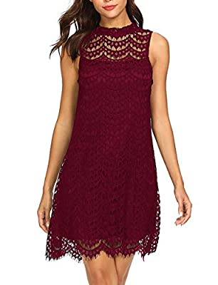 Elegant mini lace dress design for women(weight:80lbs-150lbs, bust:30A-36C) Material: 100% Polyester, fabric: light weight, no stretch Lined, above keen high, mini dress, floral lace detials, sleeveless, round neck, keyhole back. Style: solid dress, ...