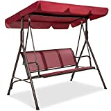 Best Choice Products 3-Seater Outdoor Adjustable Canopy Swing Glider, Patio Loveseat Bench for Deck, Porch w/Armrests, Textilene Fabric, Steel Frame - Burgundy