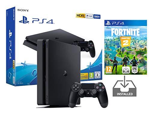 PS4 Slim 500Gb Negra Playstation 4 Consola Pack + Fortnite: Battle Royale [Preinstalado]