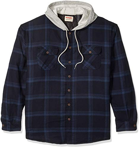 Wrangler Authentics Men's Long Sleeve Quilted Lined Flannel Shirt Jacket with Hood,Total Eclipse With Heather,Medium