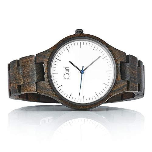 Cari Damen & Herren Holzuhr 40mm mit Schweizer Uhrwerk - Holz-Armbanduhr Berlin-031 (Sandelholz braun)