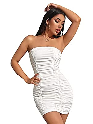 Soft, lightweight, skin-touch and high-stretch material, the bodycon dress will give you a comfortable and warm wearing experience. Features: This women dress features high-quality material, runched detail, solid color, high stretch, strapless and sl...