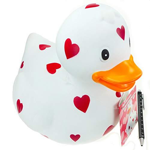 Badeente XXL 26 cm lang 23 cm hoch Dekoente fürs Bad weiß mit Herz