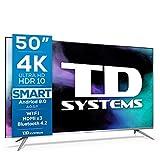 TD Systems K50DLJ12US - Televisores Smart TV 50 Pulgadas 4k UHD Android 9.0 y HBBTV, 1500 PCI Hz, 3X HDMI, 2X USB. DVB-T2/C/S2, Modo Hotel. Televisiones