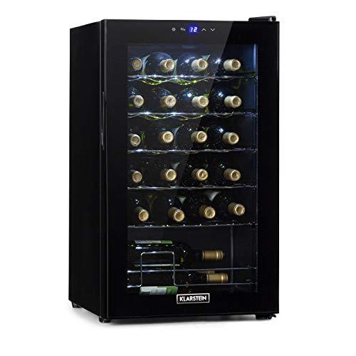 KLARSTEIN Shiraz Uno - Frigorifero Vini, Cantinetta, Frigo Vino, Temperature: 5-18 C, 42 dB, Pannello Soft-Touch, 5 Ripiani, per 24 Bottiglie, Volume: 67 Litri, Nero