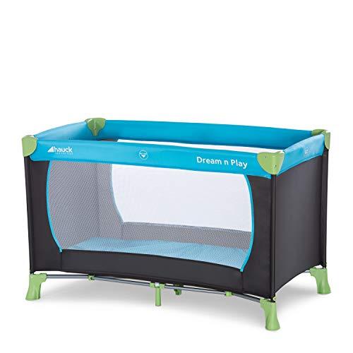 Hauck / Dream N Play / Lit Parapluie 3 Pièces / 120 x 60 cm / Naissance à 15 kg / avec Matelas et Sac de Transport / Pliable / Transportable / Inversable / Waterblue (Bleu)