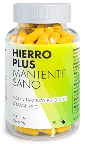 HIERRO PLUS - 180 capsulas de suplemento hierro con vitamina B12,...