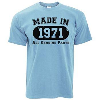 50th Birthday T Shirt Made in 1971 All Genuine Parts Tee - (Sky Blue/Medium)