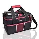 Polar Pack 18 Can Double Handle Square Box Collapsible Cooler Bag Soft Portable Insulated Picnic Bag Outdoor Indoor Travel Lunch Bag for Camping, School, Travel & Sports (Black/RED)…