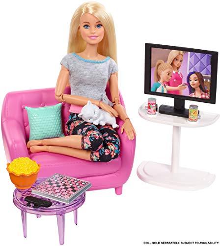 Barbie Set di Arredamenti da Interno, Soggiorno Che Include Un Gattino, Mobili e Accessori per Una...