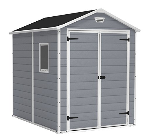 KETER Manor 6x8 Foot Large Resin Outdoor Shed with Floor for Patio Furniture, Lawn Mower, and Bike Storage, 6 by 8, Grey