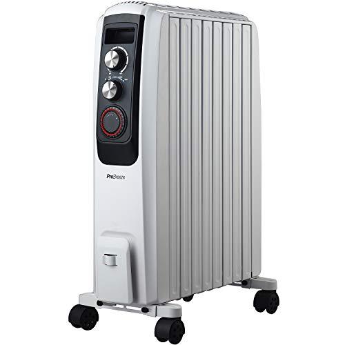 Pro Breeze Radiateur à Bain d'Huile 2000 W avec 8 colonnes, minuteur intégré, 3 puissances de Chauffage et Thermostat