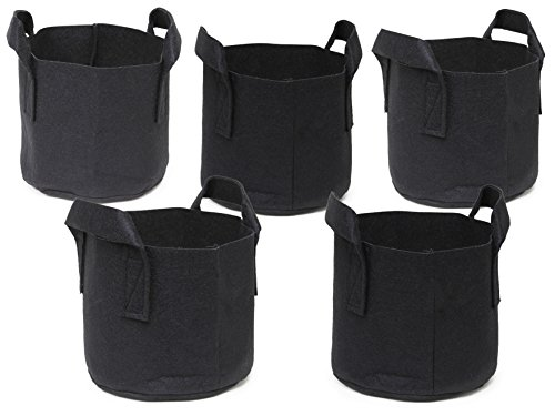247Garden 5-Pack 1 Gallon Grow Bags/Aeration Fabric Pots w/Handles (Black)