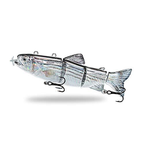 ODS Lure Esca per Il Nuoto robotico Ricaricabile USB Luce a LED Costume da Bagno multisnodato a 4 segmenti Autopropulsione Inteli Esca da Pesca elettrica(T620)