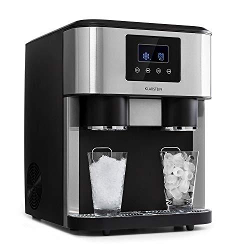 KLARSTEIN Eiszeit Crush - Machine à glaçons 3 en 1: glaçons, glace pilée, eau glacée, ice maker 2 tailles de glaçons, 15-18 kg / 24h, écran LCD, réservoir 1,8 l, capacité : 600 g - Argent