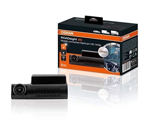 OSRAM ORSDC50 ROADsight 50, Dash Cam, Telecamera Anteriore per Auto, Full HD 1440p, 30 fps, 140° grandangolo, Wi-Fi, Compatibile con App, sensore G, GPS, modalità parcheggio