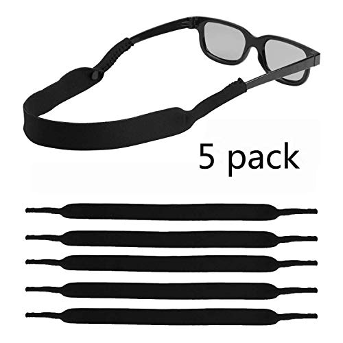 LOVAC Men/Women Sunglass Straps, Safety Floating Eyewear Retainer, Premium Neoprene Material - Ideal for Water Sports & Outdoor Adventures, Fit Most Glasses,5pack (D.Black)