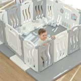 Foldable Baby playpen Baby Folding Play Pen Kids Activity Centre Safety Play Yard Home Indoor Outdoor New Pen with Drawing Board(Ocean Theme)