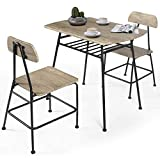 OKL Wooden Modern Dining Set for Home,Kitchen,Dining Room Storage Racks,Rectangular Table,Chairs,Steel Frame -Oak Grey (32''Table+Chair 2pc, Oak Grey)