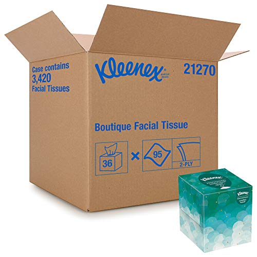 Kleenex Professional Facial Tissue Cube for Business (21270), Upright Face Tissue Box, 36 Boxes / Case, 95 Tissues /Box, 3,420 Tissues / Case