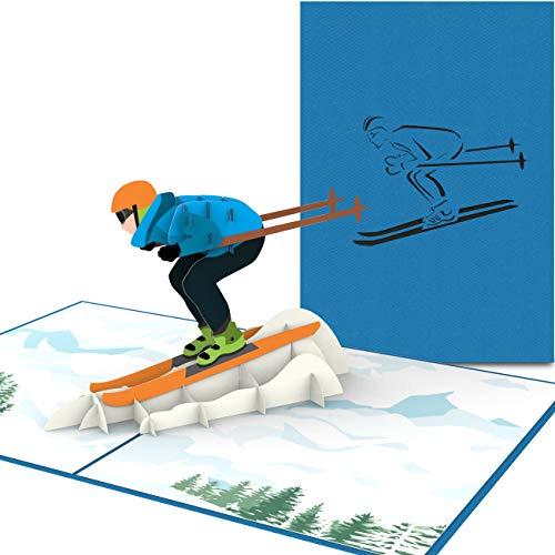 PaperCrush® Pop-Up Karte Skifahrer - Handgemachte Gutscheinkarte für Skifahren, Gutschein für...