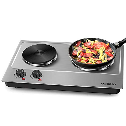 Cusimax Hot Plate Electric Double Burner Cast Iron Heating...