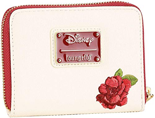 Loungefly Disney Belle Flowers Faux Leather Mini Zip Wallet