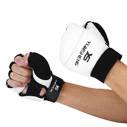 Fsskgx Guanti per Taekwondo, guantoni da Boxe per Karate con Sparring per Mezzo Dito, Copri...