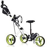 Tangkula Golf Push Cart with Seat, Lightweight Folding 3 Wheels Golf Pull Cart, Golf Trolley with Scoreboard Bag Foot Brake, Cup & Umbrella Holder, Height-Adjustable Handle, Golf Push Pull Cart