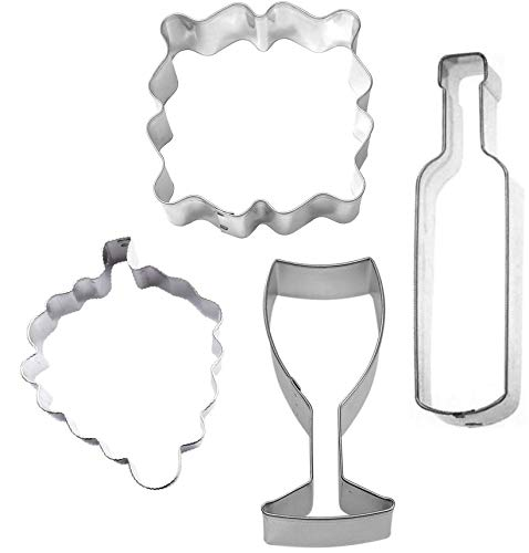 4 Piece Wine Cookie Cutter Set Bottle Grapes Glass Label