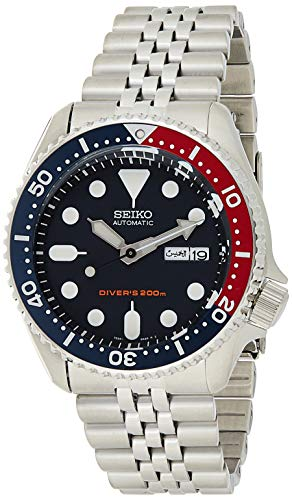 Seiko SKX009K2 Reloj automático 200 M Divers para hombre - Cinturón negro con esfera azul