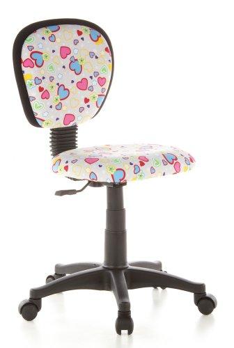 hjh OFFICE 670170 Kinderdrehstuhl KIDDY TOP Netzstoff Herzen/Blumen Kinderbürostuhl mit Rückenlehne, höhenverstellbar