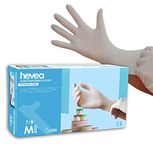 Guanti monouso in latex senza polvere 1 x 100 taglia M