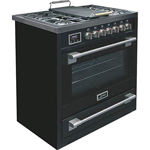Kaiser HGE 93505 S Elektro-Gasherd 90 cm/Elektro-Backofen / 115 l/Gaskochfeld / 4,5 kW WOK / 8 Funktionen/Selbstreinigung/Erdgas und Propan möglich/Luxus Qualität