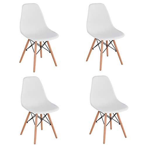 KunstDesign Set de 4 Sillas de Comedor, Diseño Ergonómico,Patas de Madera de Haya Natural (Blanco)
