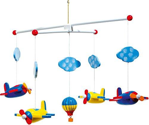 """small foot 7938 Mobile \""""Luftfahrt\"""" aus Holz, mit Wolken, Flugzeugen und einem Heißlustballon"""