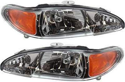 Headlight Set Compatible with 1997-2002 Ford Escort 1997-1999 Mercury Tracer Left Driver and Right Passenger Side Halogen With bulb(s)
