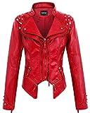chouyatou Women's Fashion Studded Perfectly Shaping Faux Leather Biker Jacket (X-Large, Red)