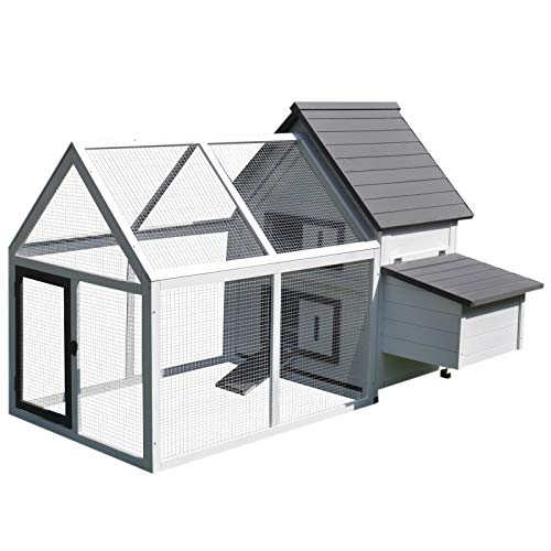 PawHut 65 Wood Outdoor Chicken Coop House with Nesting Box, Ramp, Run, and Ladder