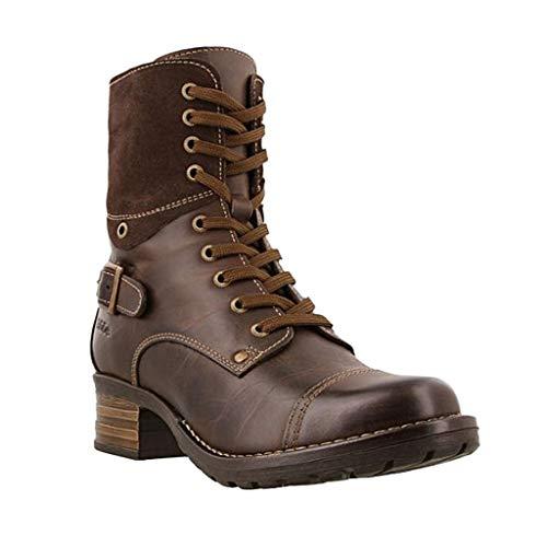 Boots Stivaletti Stivali Donna Scarpe Donna Moda Casual Tacchi Quadrati Stivaletti Corti Slip On (42,Marrone)