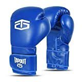 Tapout Gants Boxe Homme Dura-Leather PU Training Sparring Classic (Bleu, 14 oz)