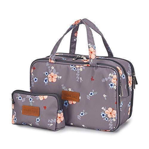 Reise-Kosmetiktasche Kulturbeutel mit kleinen Kosmetiktaschen für Frauen Mädchen Wasserdicht (Graue Make-up Tasche gesetzt)