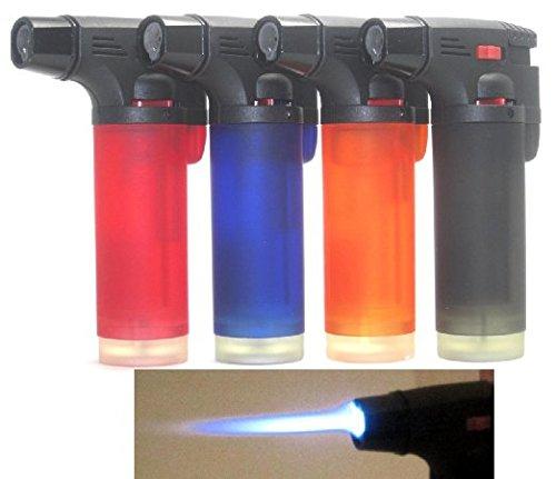 5 Pack Jumbo 4' Single Jet Flame Side Torch Gun Lighter Windproof Refillable Cigarette Lighter